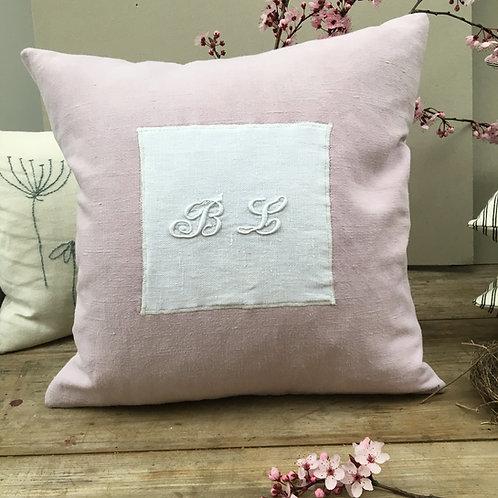 Dusky Pink French Linen Monogram Cushion BL