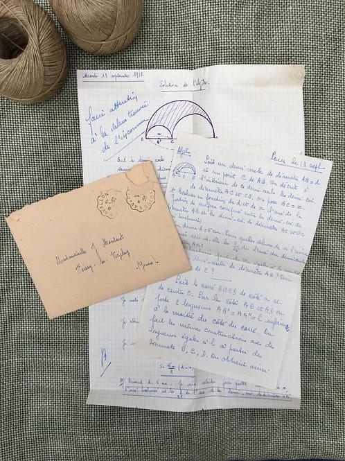 French Letter & Algebra to Mme. J Montenot