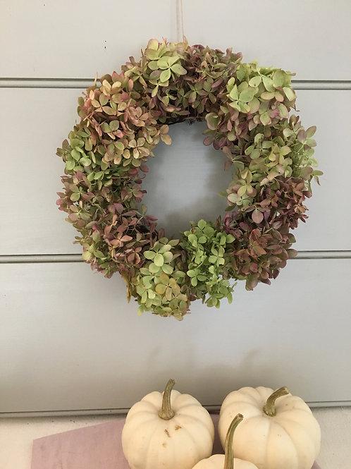 Dried Hydrangea Wreath - Pink & Green
