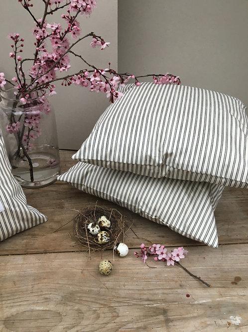 Beautiful French Black Ticking Stripe Cushion