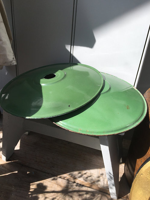 French Green Enamel Lampshade