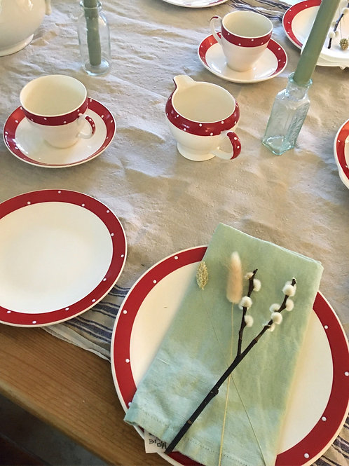 A Vintage Tea Set in White and Red Polka Dots