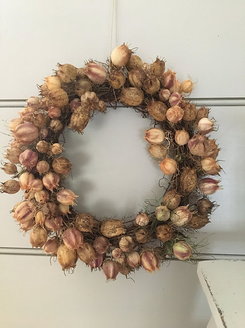 Beautiful Dried Love in a Mist Wreath
