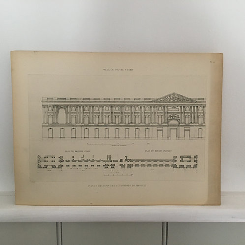 Paris - Palais de Louvre - Elevation & Plan