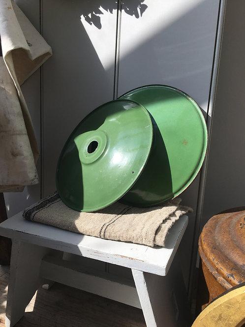 French Green Enamel Lampshade