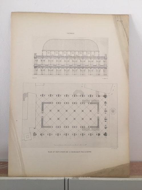 Vincenza - Plan et Elevation de la Basilique Palladienne