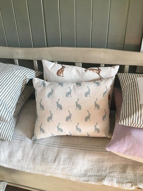 Hares Linen Cushion in Duck Egg