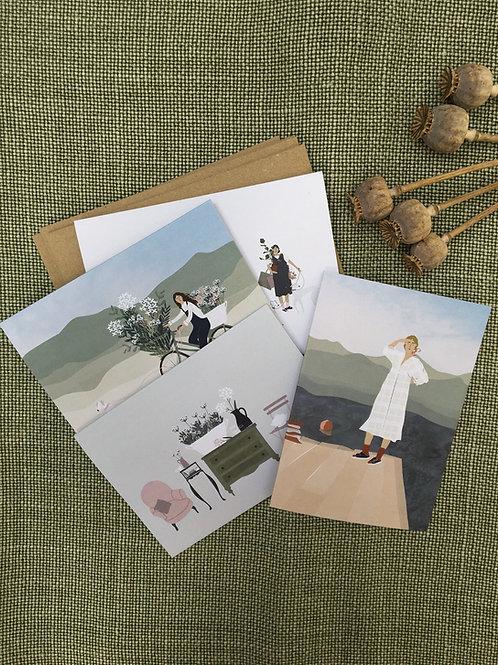 Set of 4 Brocante Greetings Cards