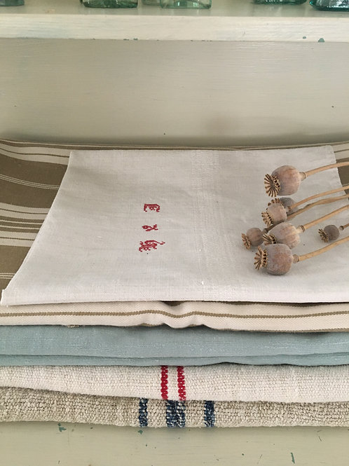 Vintage French Linen Cloth with 'H & J' Monogram