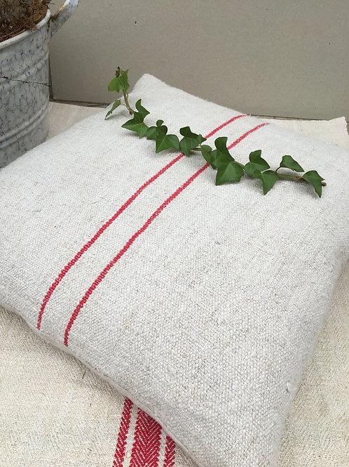 Red Striped Vintage Grainsack Cushion