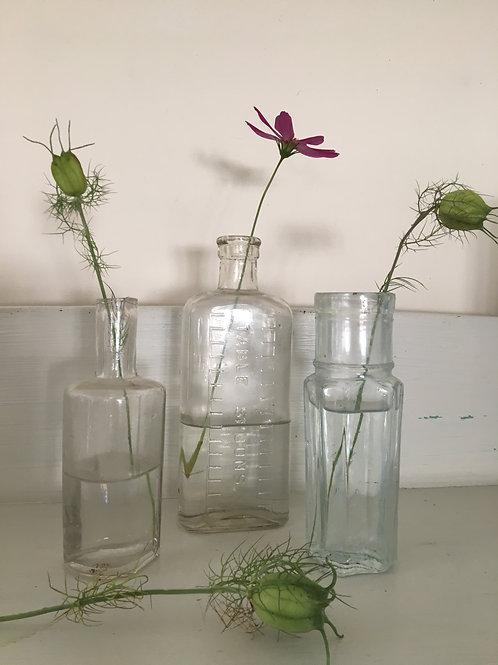 Set of 3 Vintage Clear Glass Bottles