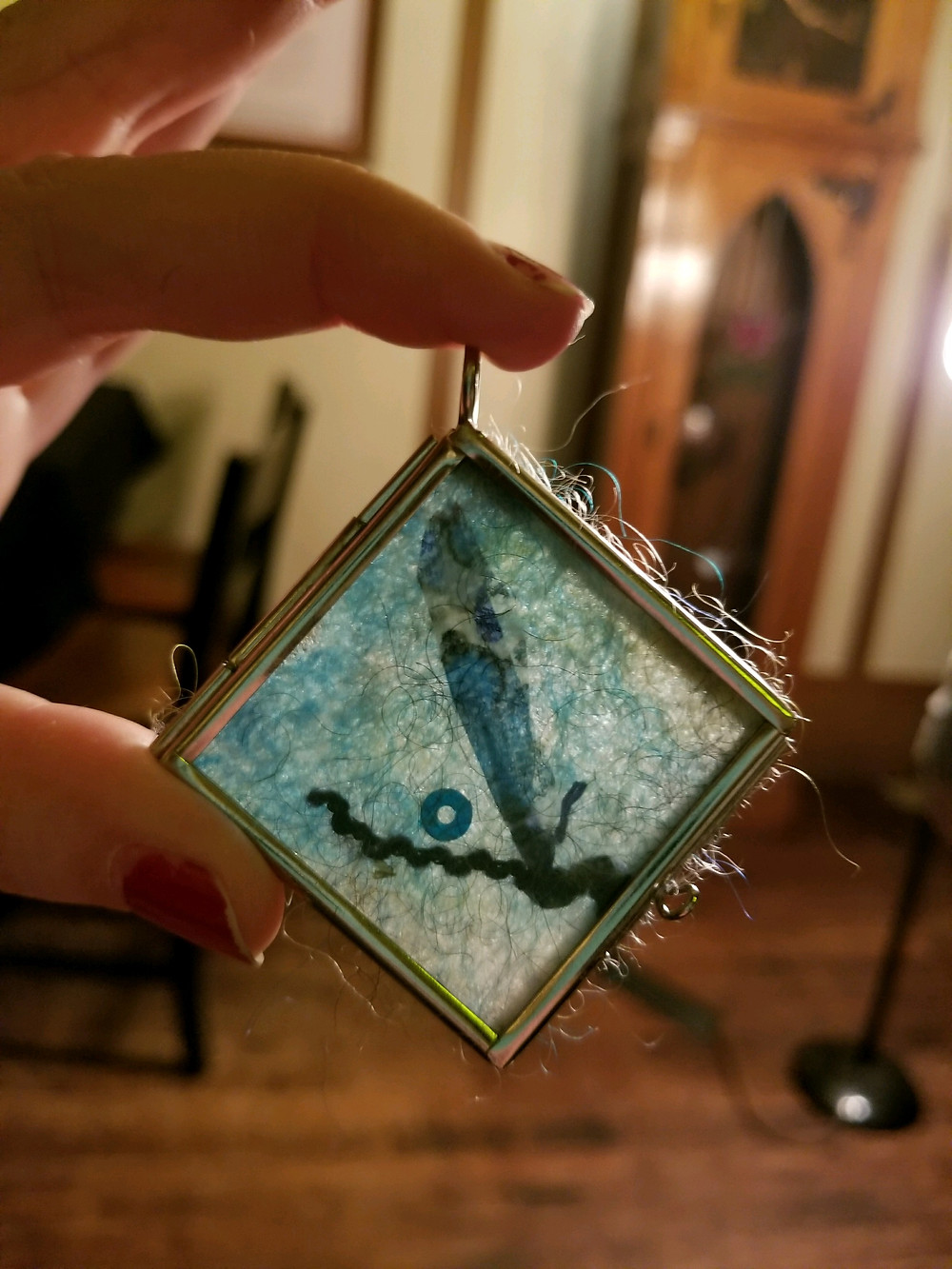 Windowpane Mixed Media flat pendant; Dragonfly
