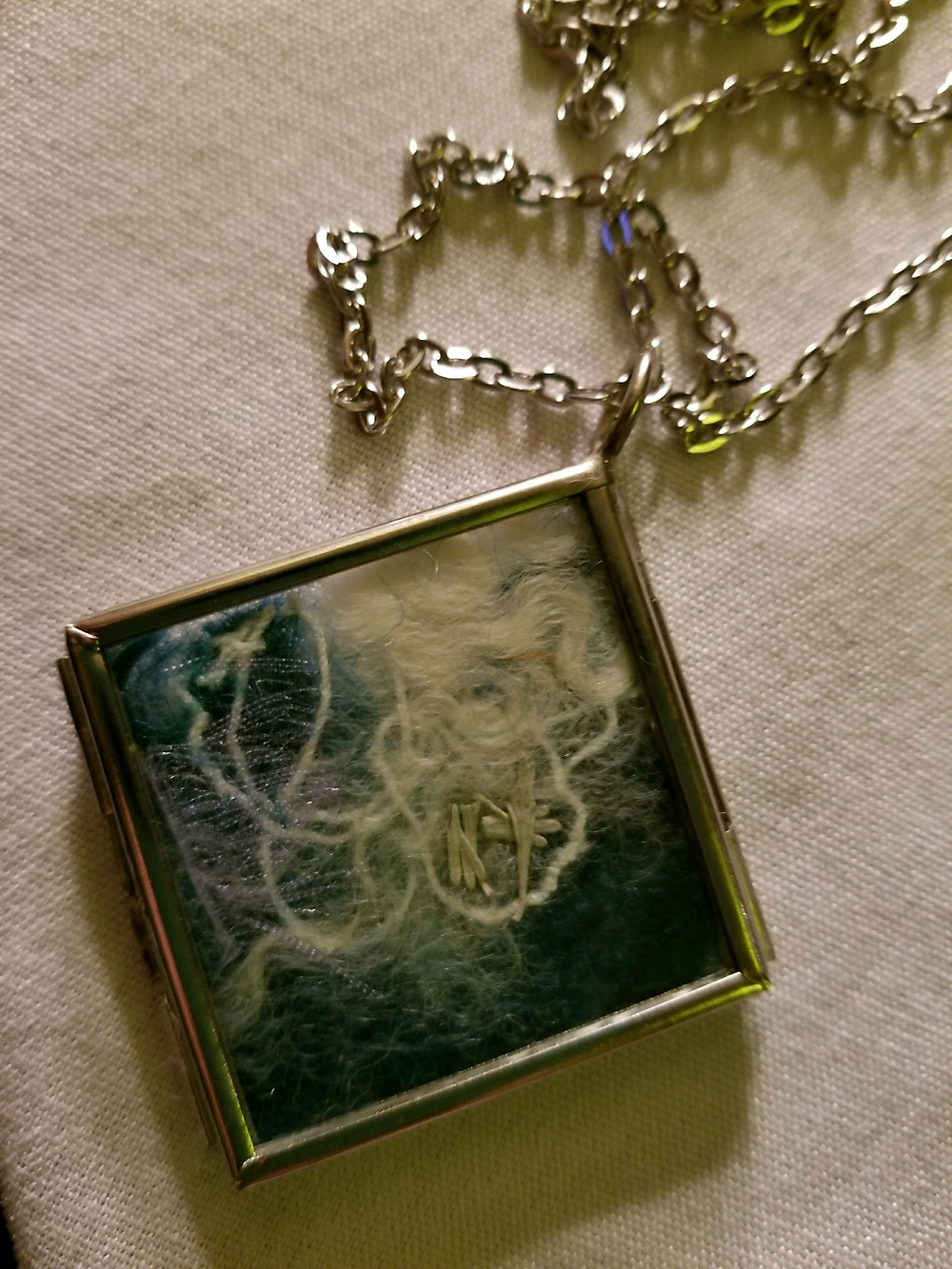 Windowpane Mixed Media flat pendant with sage