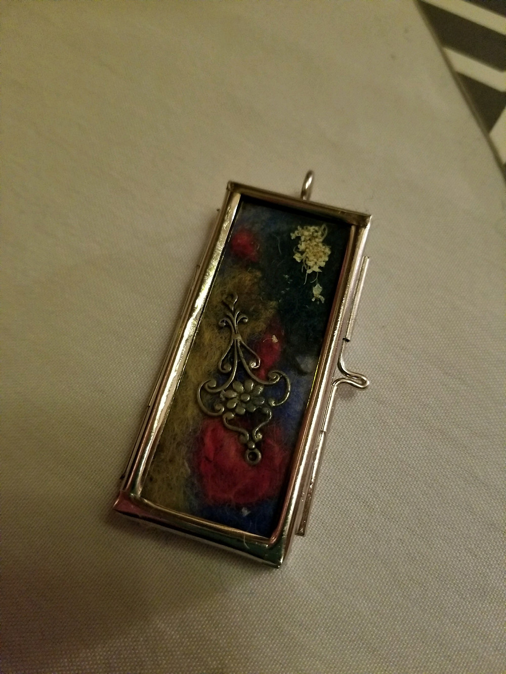 Windowpane Mixed Media flat pendant with upcycled jewled jewelry