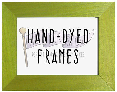 A bright green picture frame with the words Hand Dyed Frames