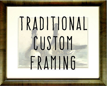 A framed picture of two geese with the words Traditional Custom Framing