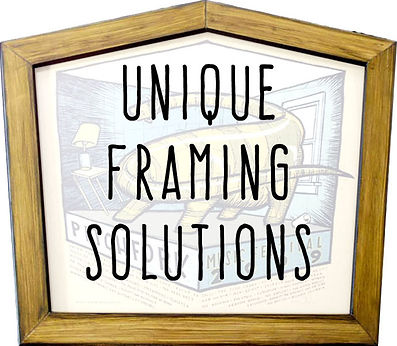 A five-sided picture frame that says Unique Framing Solutions