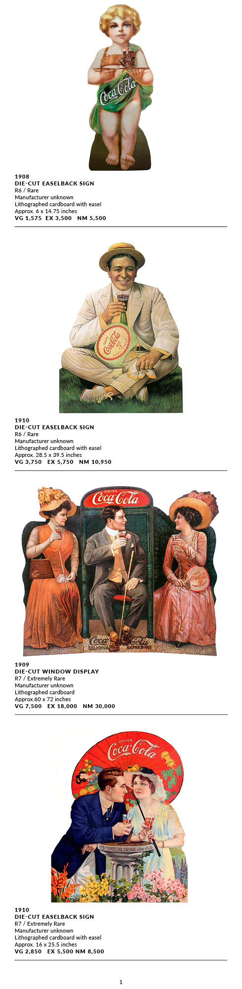 Die Cuts EaselBacks and Displays 1900-19