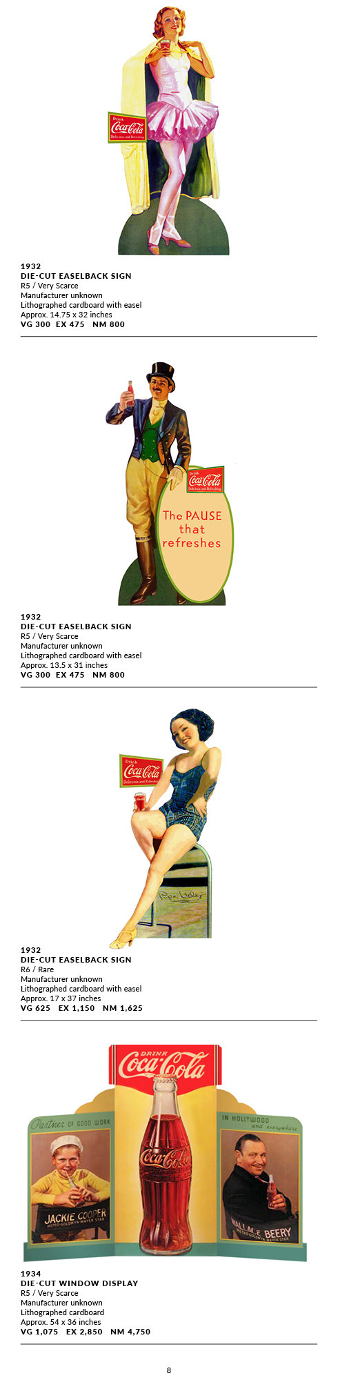 Die Cuts EaselBacks and Displays 1925-19