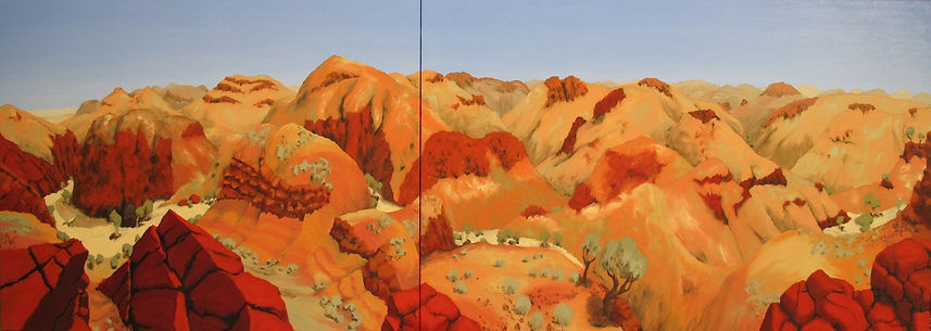 Artwork by Phil Henshall titled Down Arkaroola Creek, Parts 1 & 2