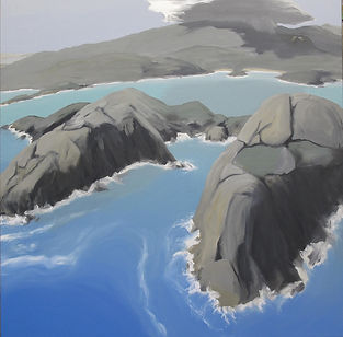 Artwork by Phil Henshall titled Norman Island and What the Gannet saw