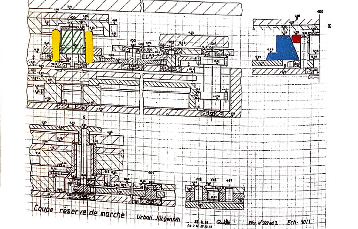 Technical drawing by Derek Pratt of the up/down mechnism
