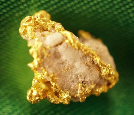 """Gold and Quartz Nugget """"The Captured Snowflake"""" at goldnuggetman.com"""