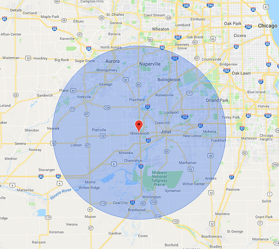 Service, area, radius, map, location