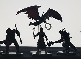 silohuette, minfigs, characters, shadows, D&D figures, mia