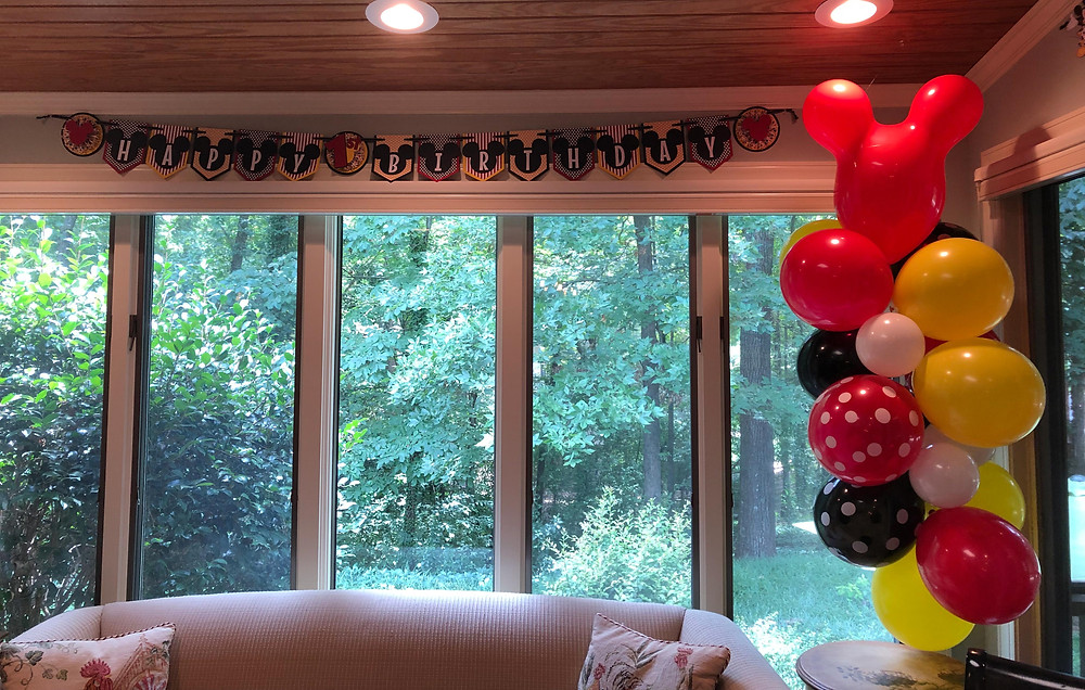 Mickey Mouse themed happy birthday garland