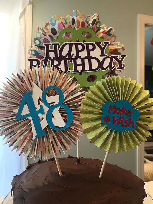 Paper Rosette Birthday Cake Topper