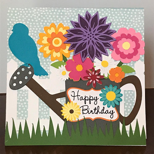 Watering Can & Flowers Birthday Card