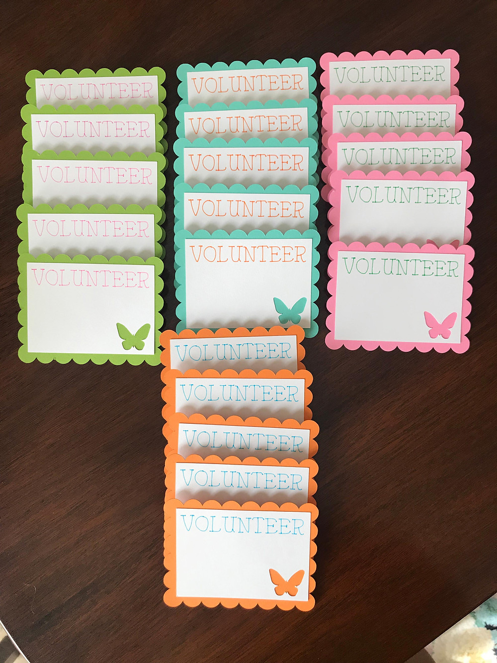 butterfly volunteer name tags