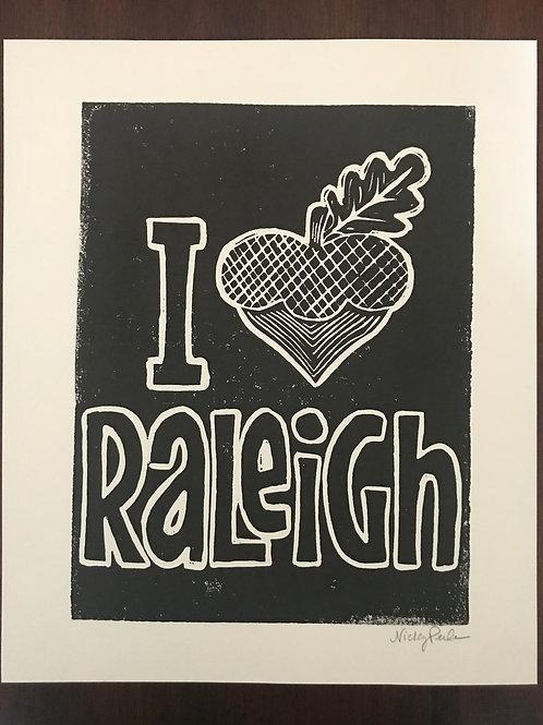 "I ""Heart"" Raleigh Linoleum Block Print"