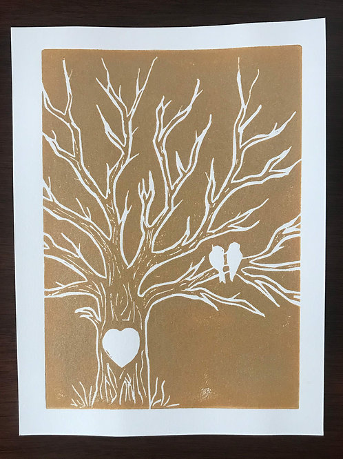 Love Birds Linocut Block Print