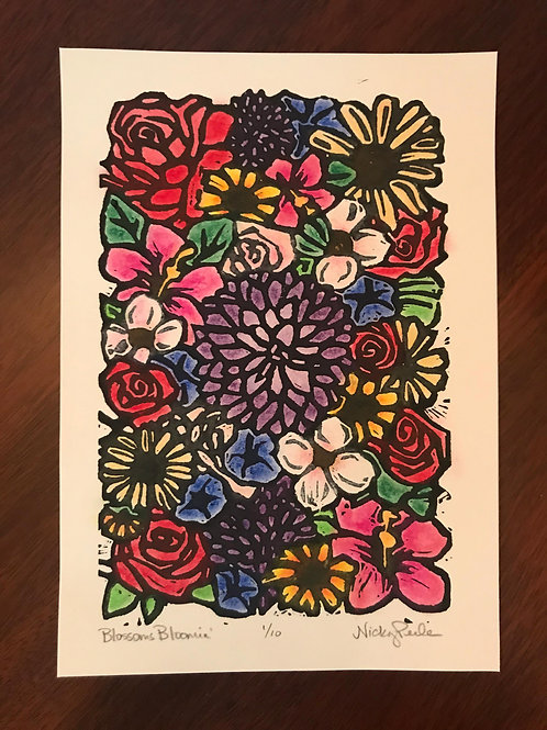 """Blossoms Bloomin'"" Limited Edition Linocut"