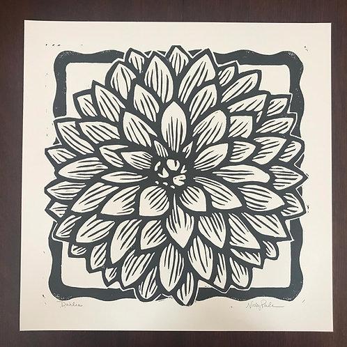 """Dahlia"" Linocut Block Print"