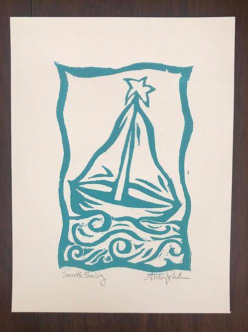 """Smooth Sailing"" Linocut Block Print"