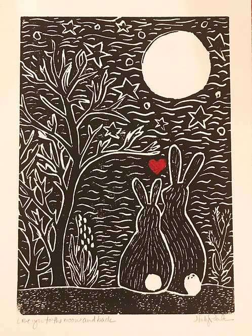 """""""Love You to the Moon and Back"""" Linocut Print"""