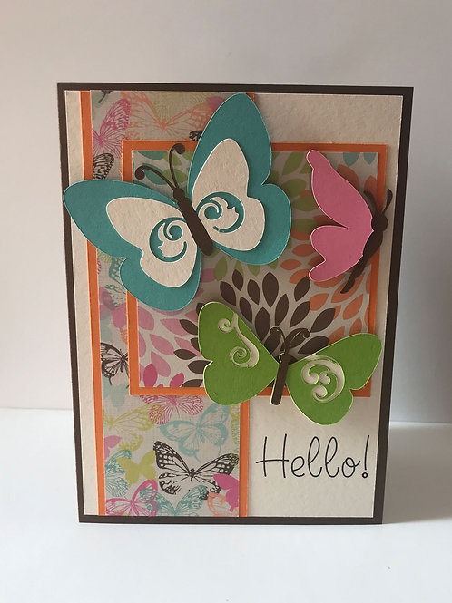 Handmade butterfly greeting card front view