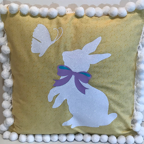 Bunny and Butterfly Pillow Cover