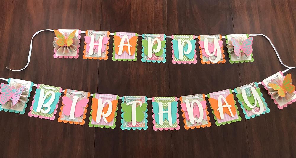 paper happy birthday butterfly garland
