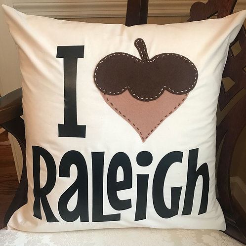 "I ""Heart"" Raleigh Handmade Pillow"