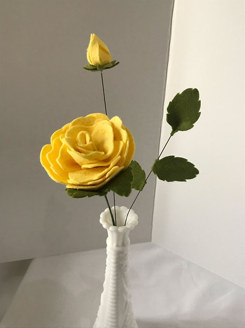 Felt Rose with Bud