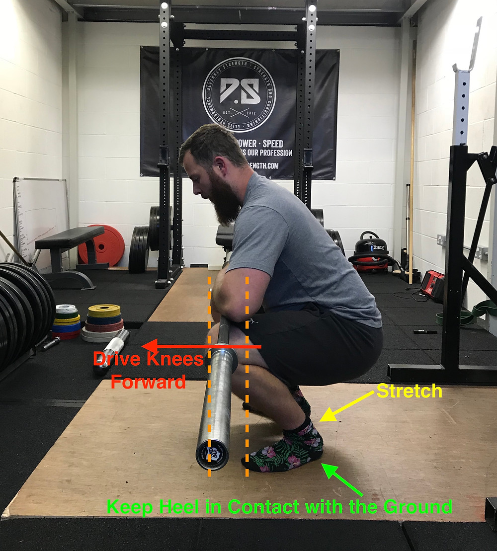 Barbell Ankle Stretch