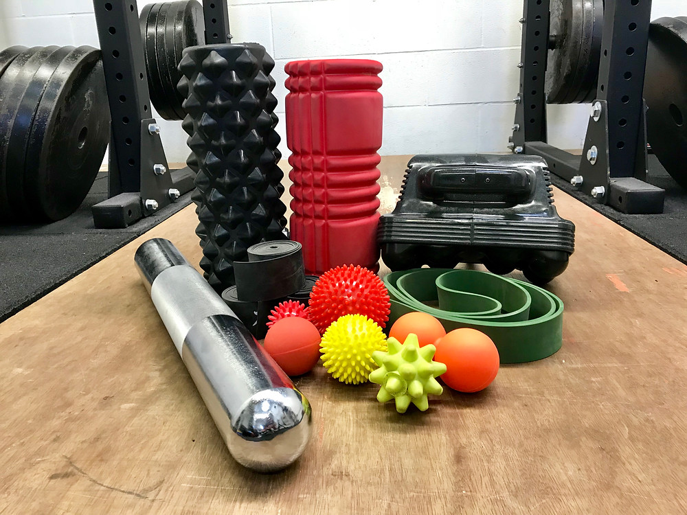 A selection of tools used for mobility and soft tissue work.