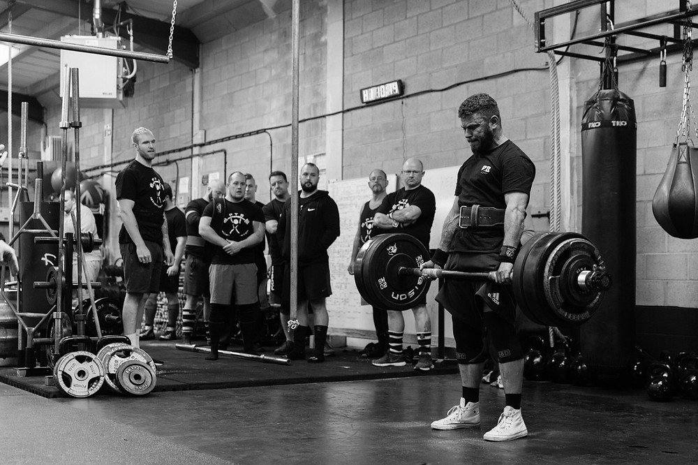 Strongman competition deadlifting