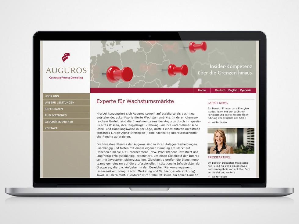 Webdesign – Auguros / Corporate Finance Colsuting