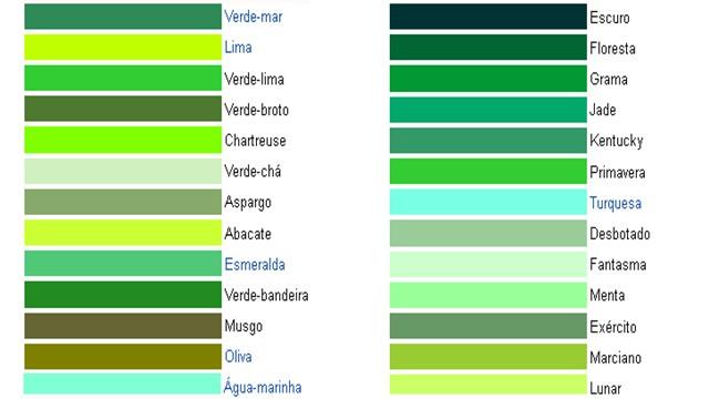 Diferentes tonalidades da cor verde