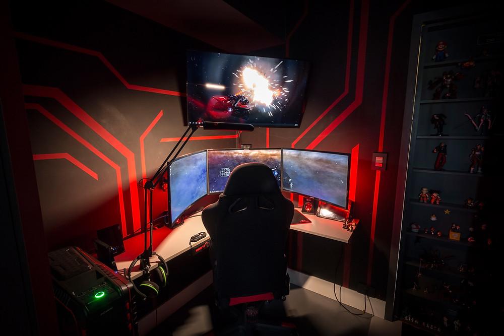 Bancada Iluminada em LED vermelho